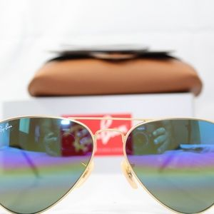 Ray-Ban RB3025 Aviator Large Metal gold blue multi